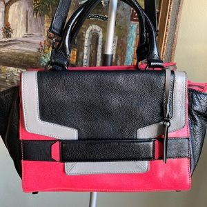 Vince camuto leather satchel red black